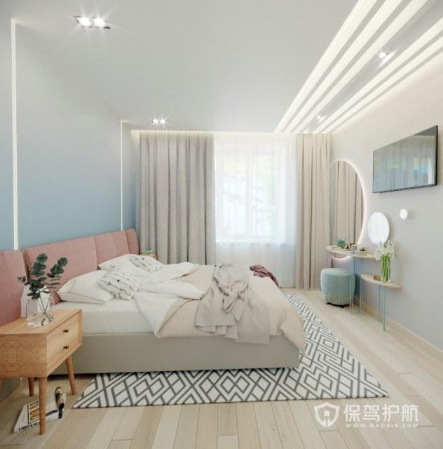 日式小清新少女風臥室地毯裝修效果圖