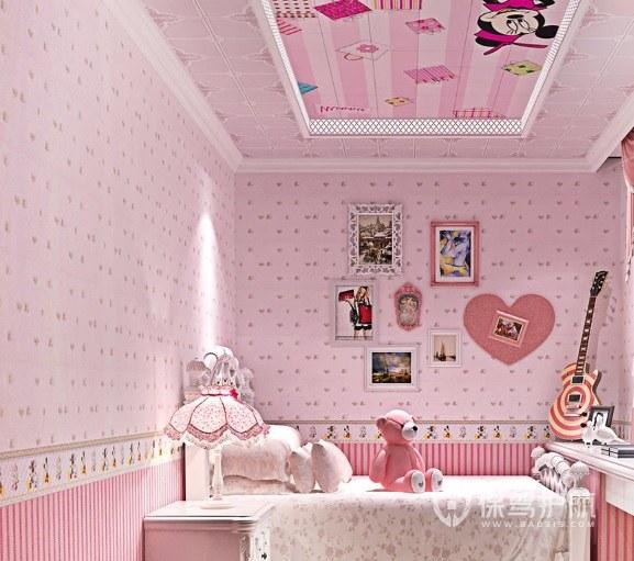 簡約可愛少女風兒童房照片墻裝修效果…