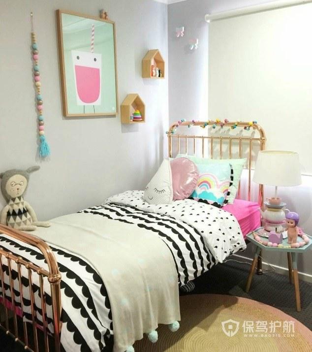 小戶型簡約可愛風臥室裝飾畫裝修效果…