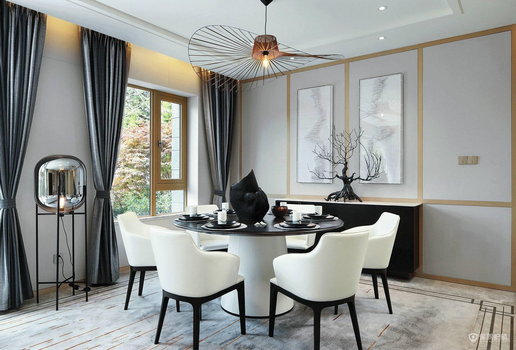 新中式古典混搭三室两厅餐厅装修效果…