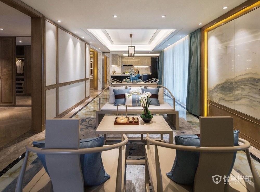 160平新中式大平層客廳裝修效果圖