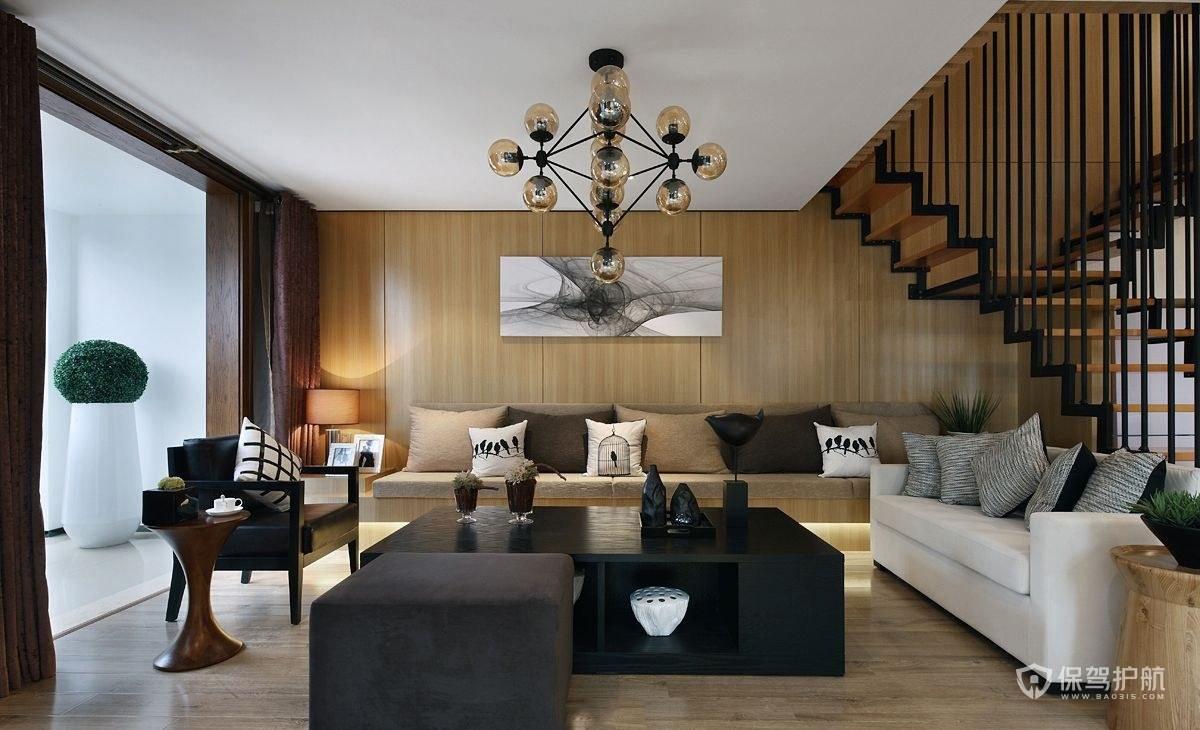 現代中式風格躍層客廳裝修效果圖