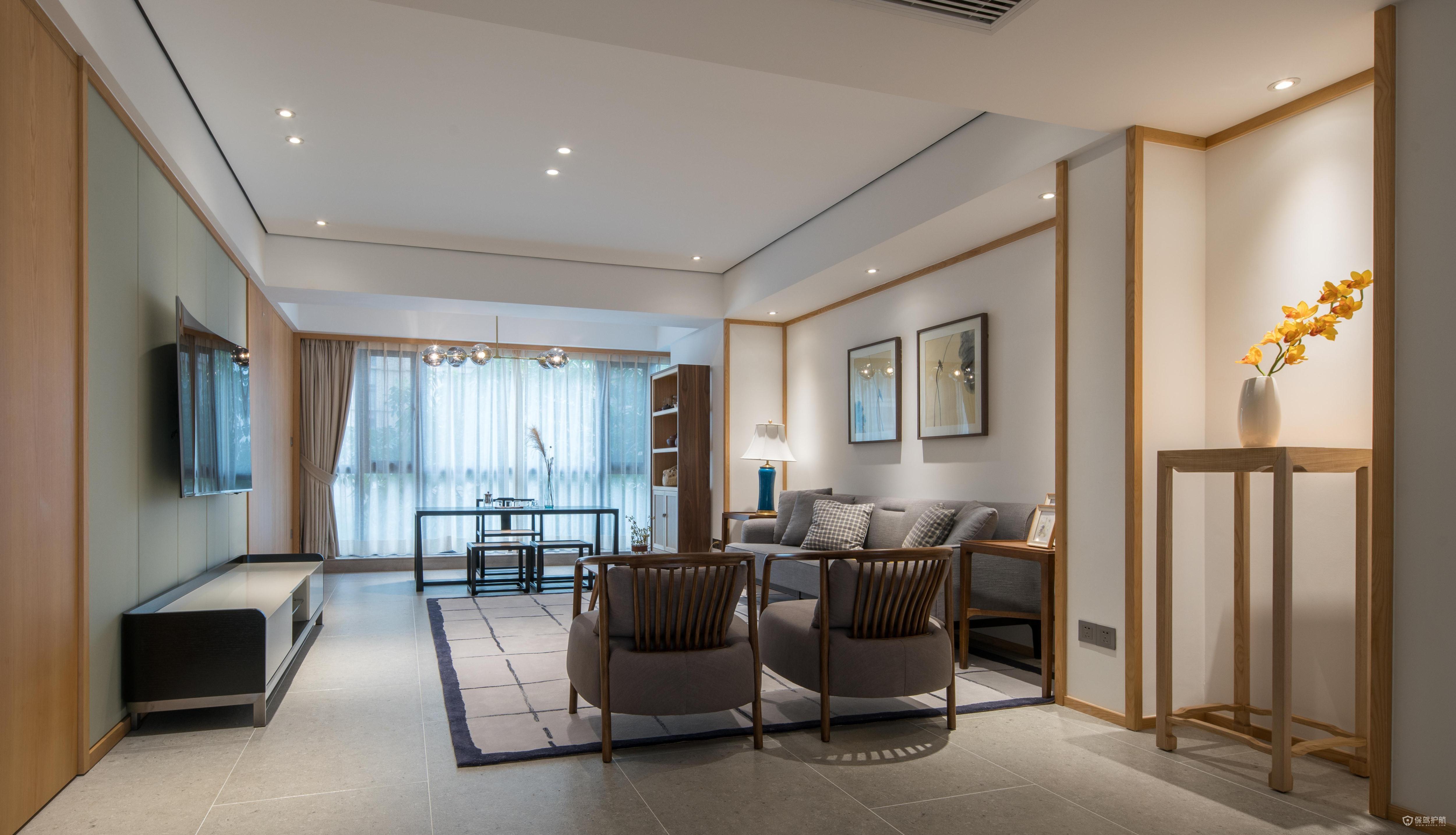 簡約新中式風格復式客廳裝修效果圖