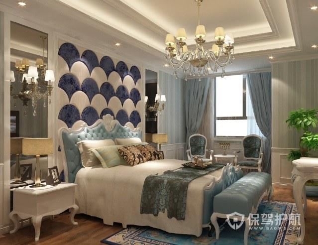 現代法式輕奢風臥室創意背景墻裝修效…