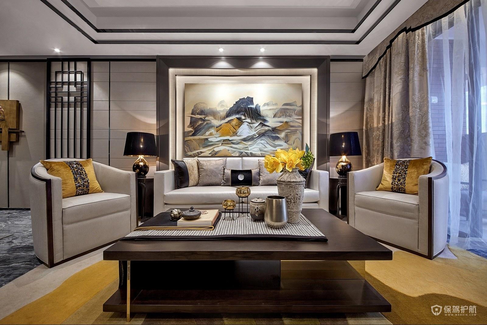 新中式風格公寓客廳裝修效果圖