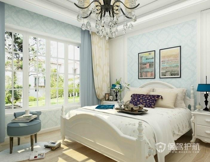 簡約法式清新風臥室裝飾畫裝修效果圖…