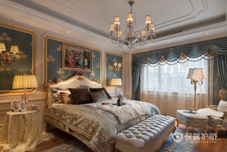 法式典雅宮廷風臥室背景墻裝修效果圖…
