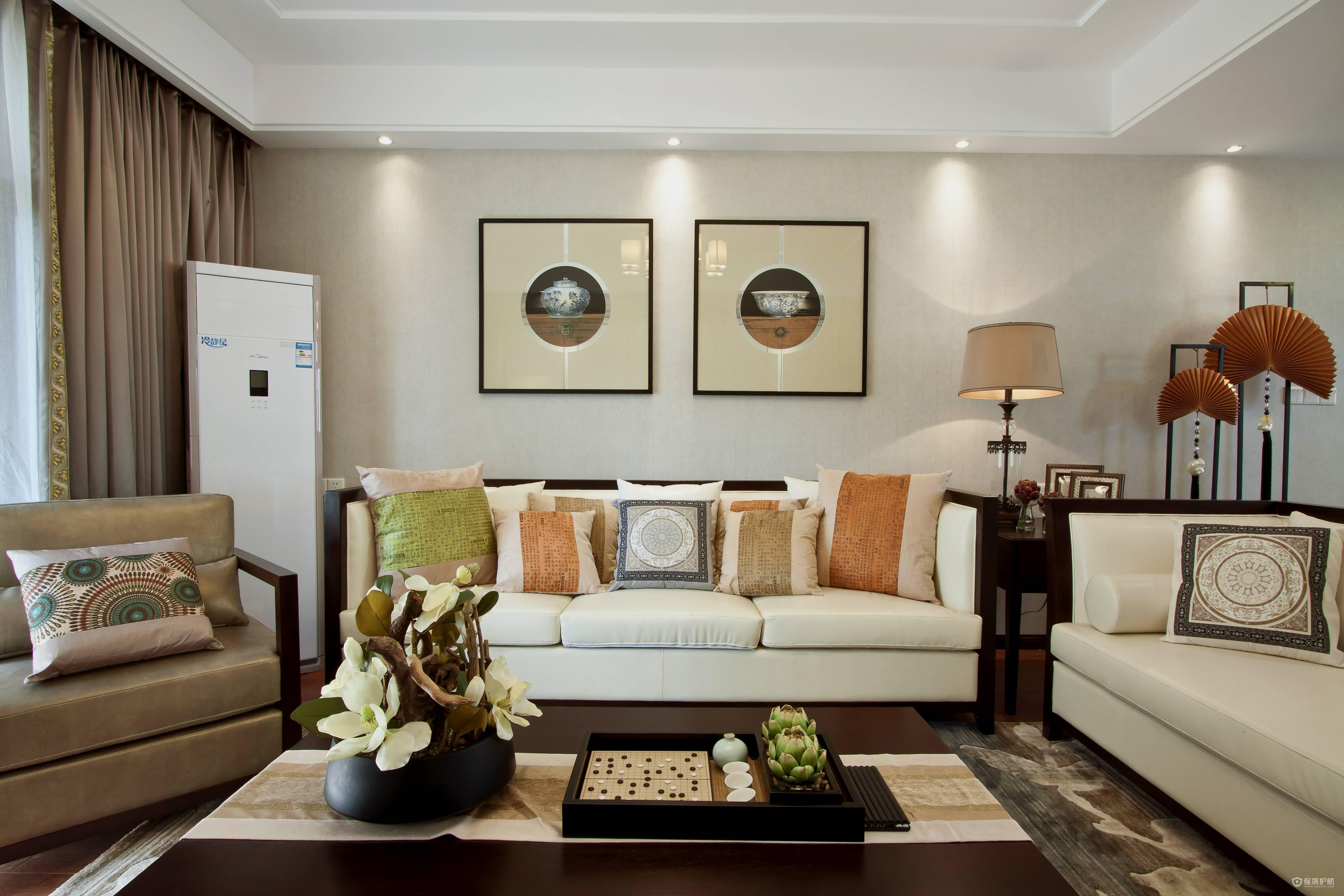 現代中式風三房客廳裝飾裝修效果圖