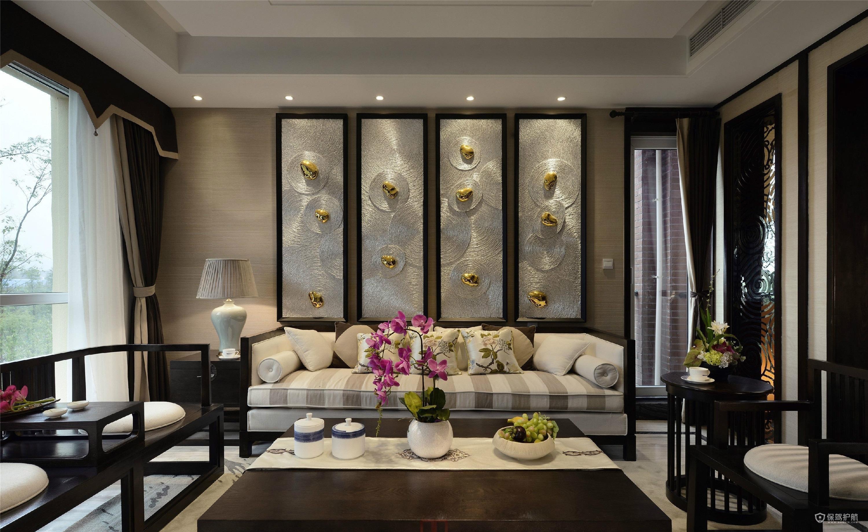 中式風格別墅客廳背景墻裝修效果圖