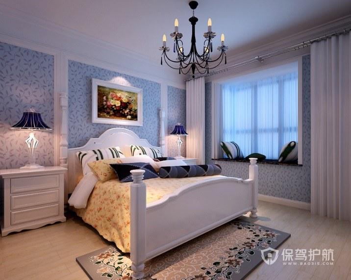 現代簡約法式風臥室復古燈飾裝修效果…