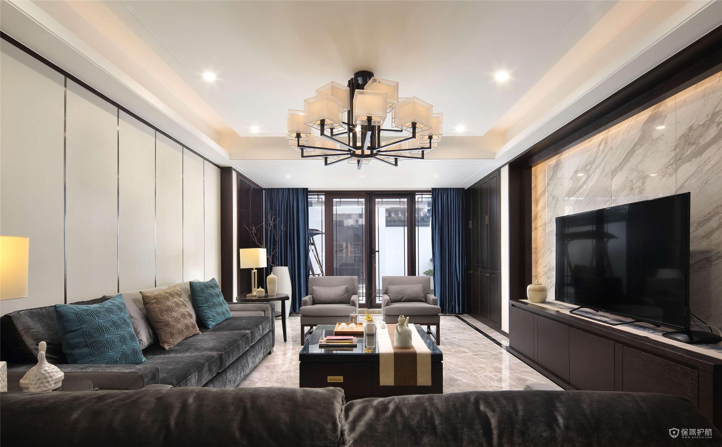 現代中式別墅客廳裝修效果圖