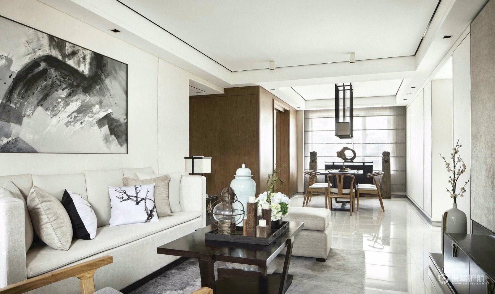 新中式風格三居室客廳裝修效果圖