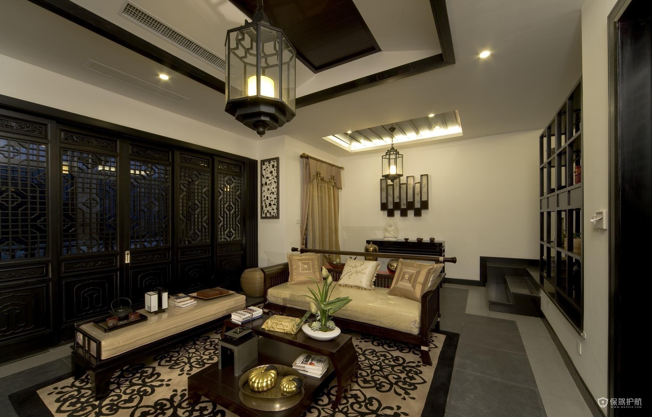 中式风格明清风格别墅客厅装修效果图…