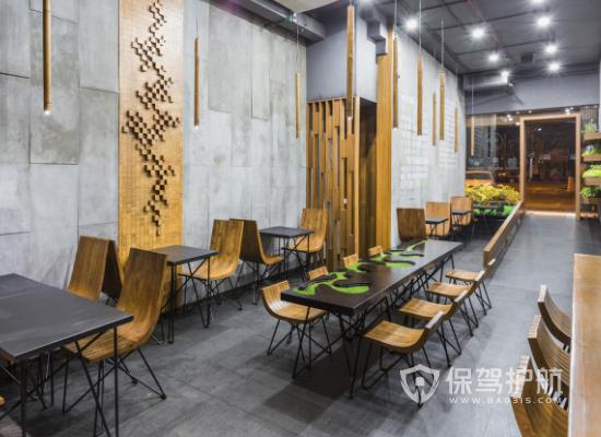 52平米工業風格網紅餐廳桌椅設計效果…