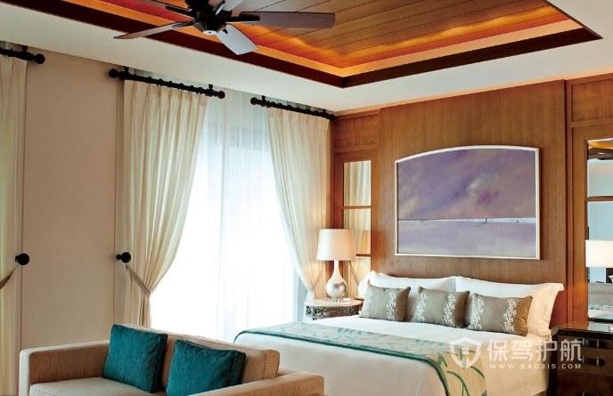 東南亞度假風公寓臥室創意吊頂裝修效果圖