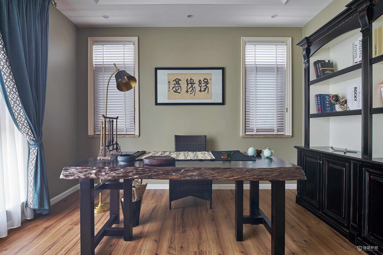 現代中式混搭風復式書房裝修效果圖