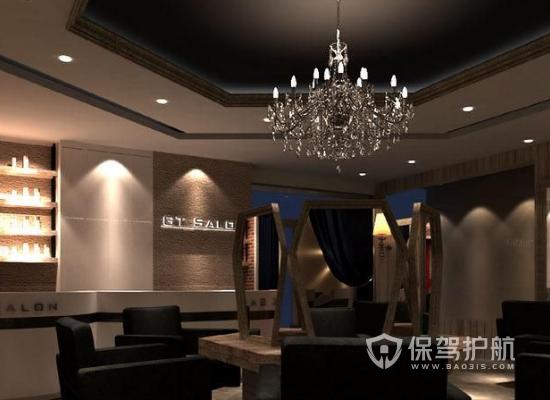 60平米美式风格理发店装修实景图