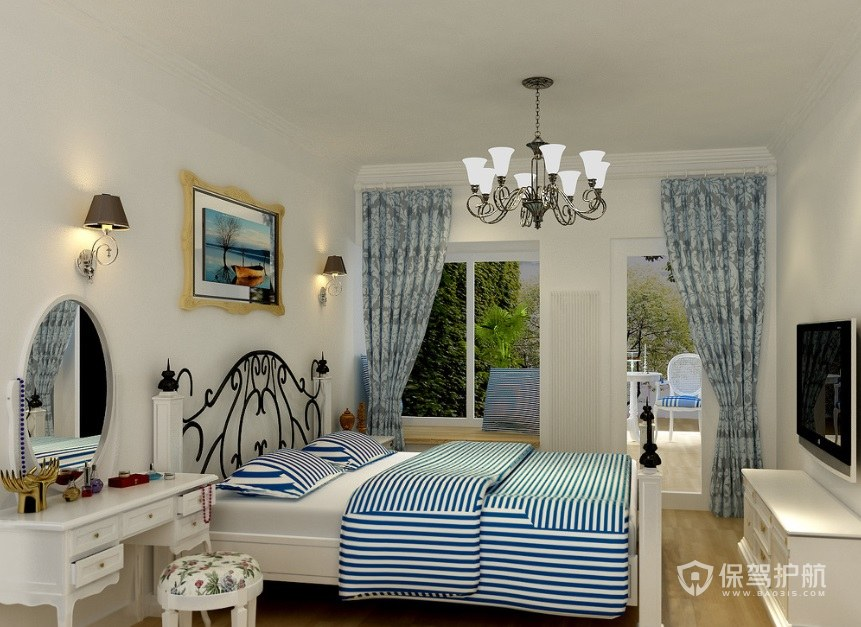简约地中海风卧室蓝色窗帘装修效果图