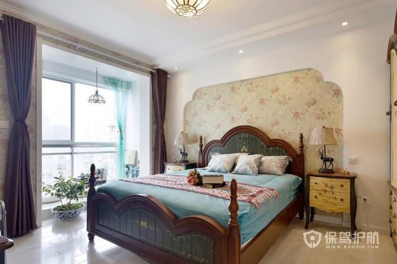 中式乡村田园风卧室背景墙装修效果图…