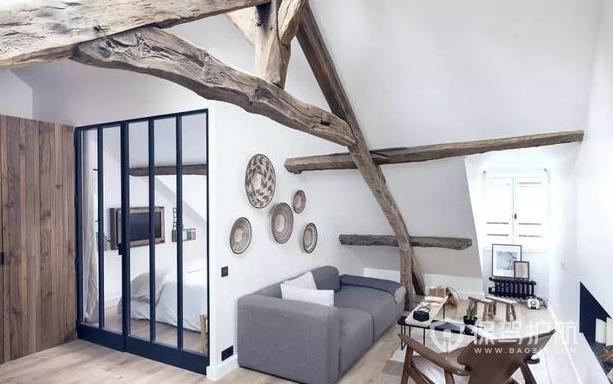 復古風閣樓裝修效果圖 小型閣樓單身公寓裝修案例