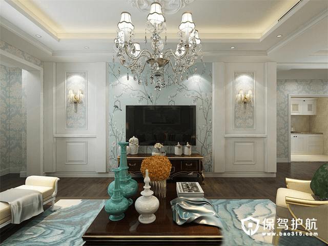 银河世纪欧式风格三居室装修效果图