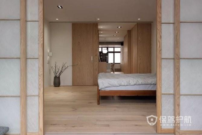 纯日式简约原木风卧室推拉门装修效果…