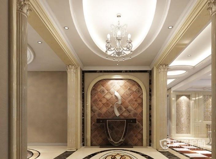 美式豪华别墅玄关走廊罗马柱装修效果…