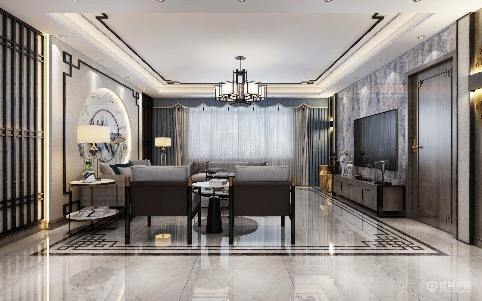 110平新中式風格二居室客廳瓷磚裝修…