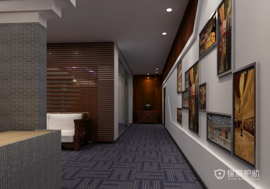 中式风格公司走廊装修效果图