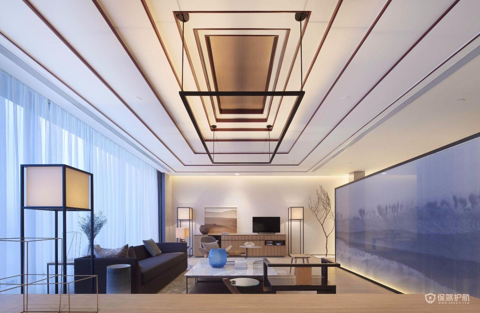 160平新中式三房客廳吊頂裝修效果圖…