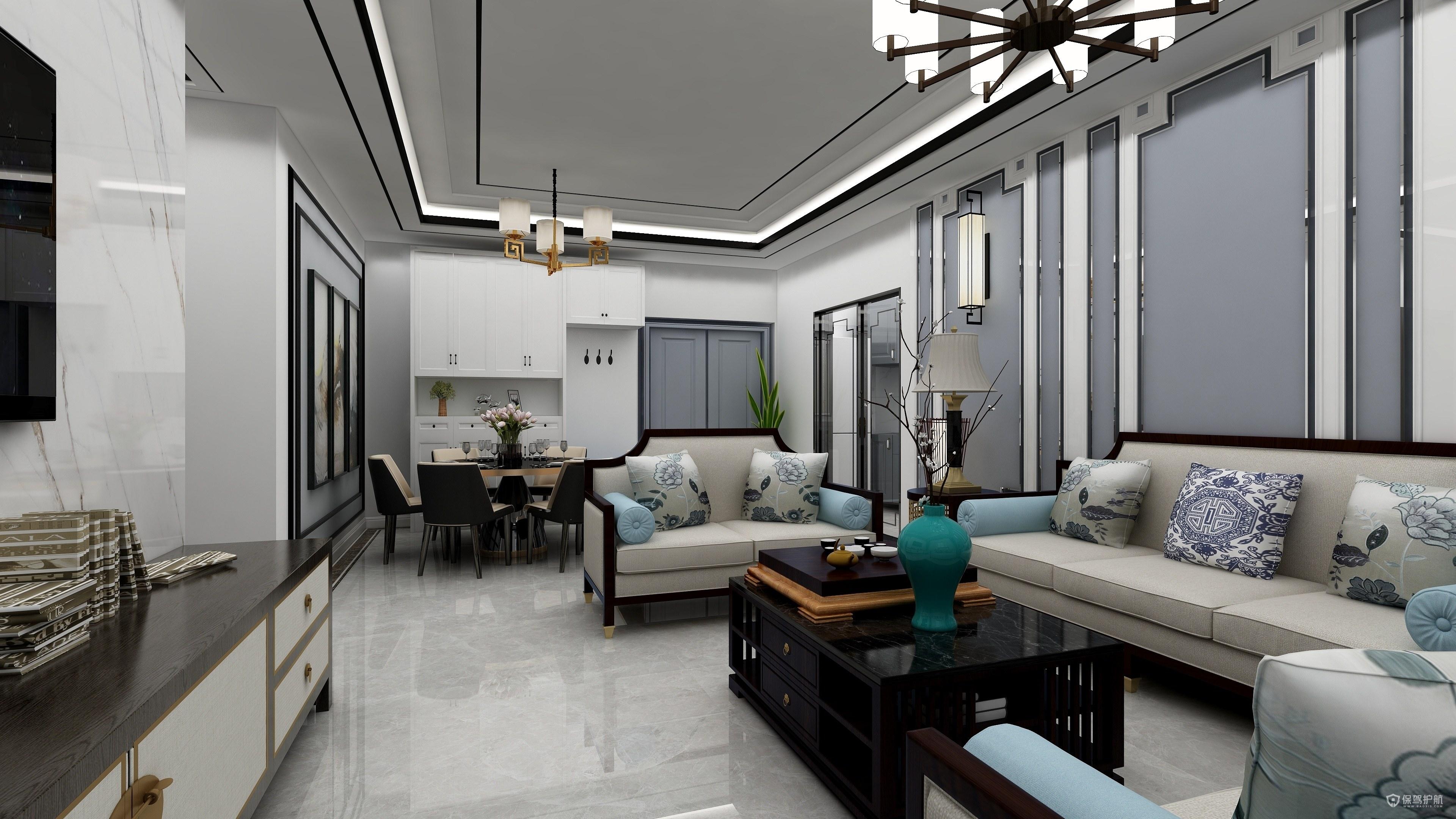 90平新中式风格两房客厅装修效果图