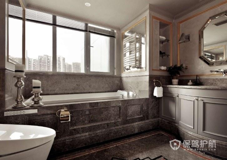 法式轻奢复古风卫生间浴缸装修效果图