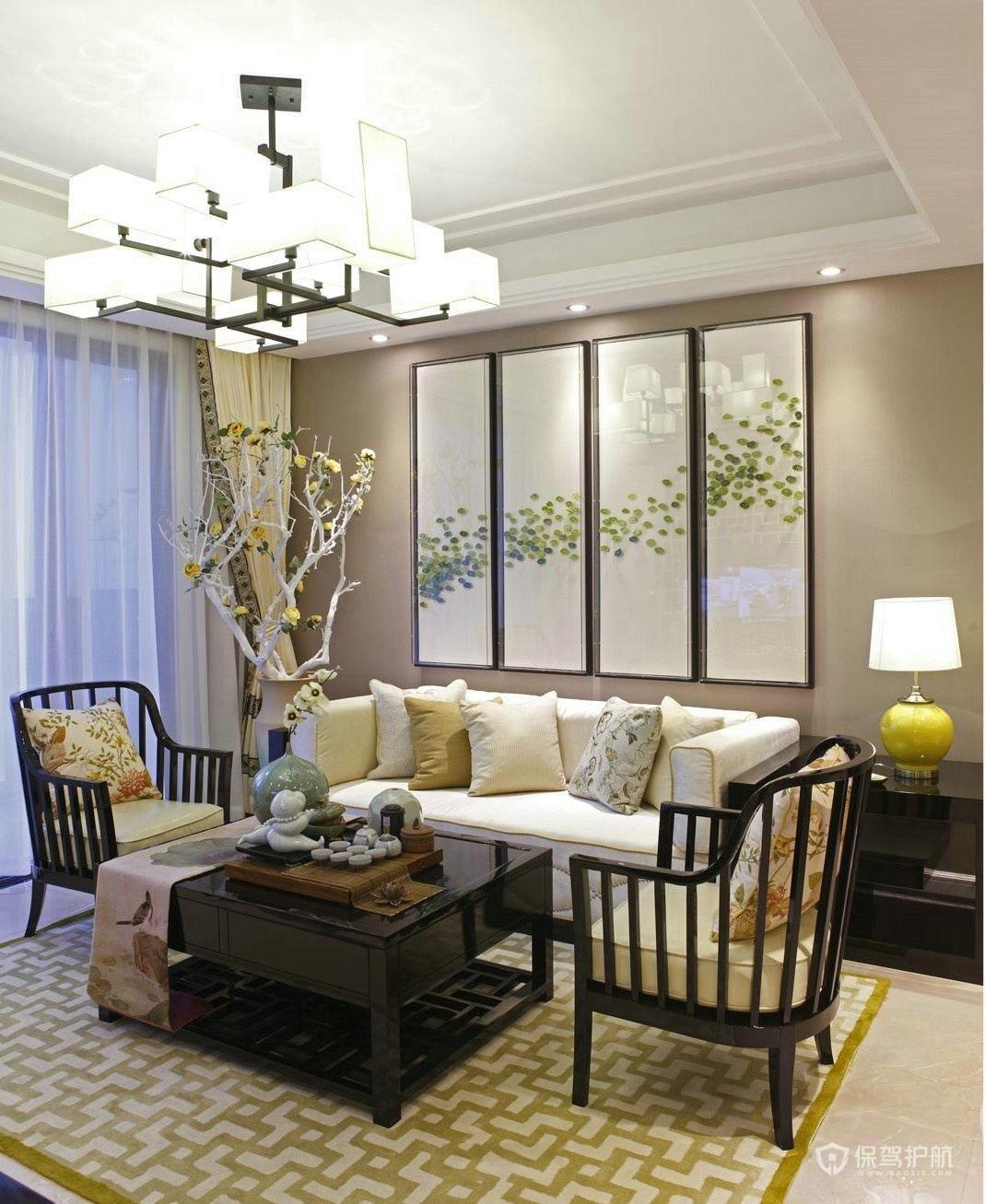 100平新中式二居室客廳裝修效果圖