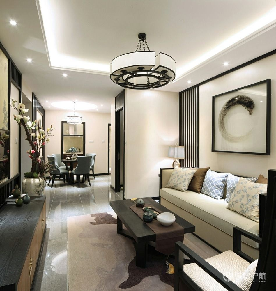 110平新中式風格三居室客廳裝修效果…
