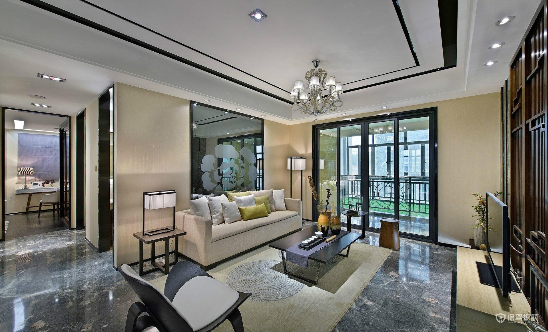 180平新中式风格四居室客厅装修效果…