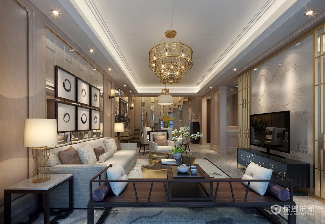 現代中式混搭躍層客廳裝修效果圖