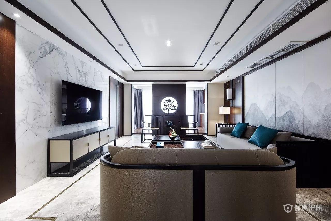 简约水墨新中式四居室客厅装修效果图