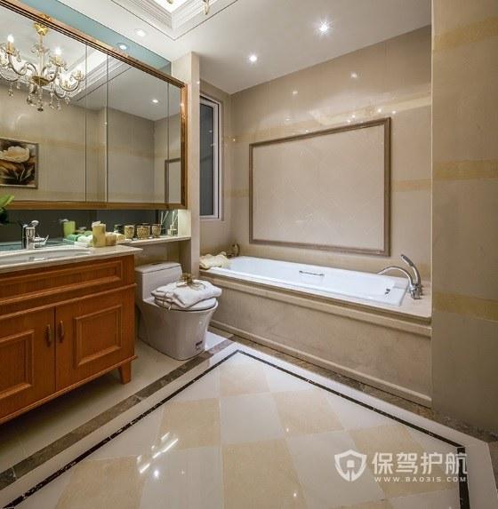 法式复古风别墅卫生间浴缸亚搏体育平台app效果图