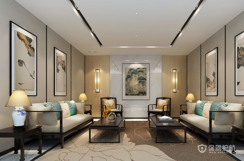 新中式风格公司接待室装修效果图