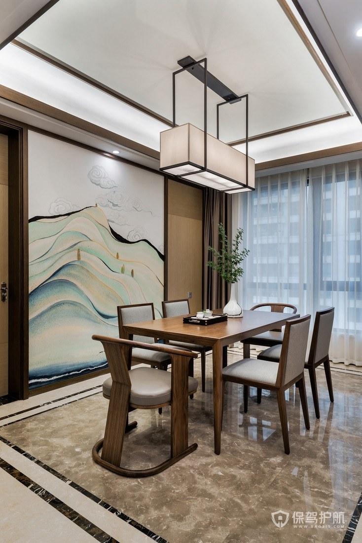 新中式风格三居室餐厅背景墙亚搏体育平台app效果图