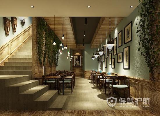 100平米田园风格咖啡厅装修效果图