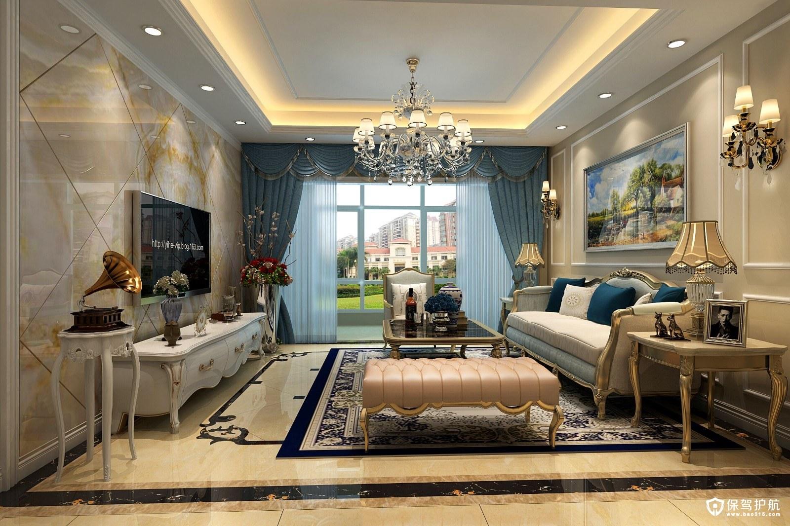 海悦名城欧式风格三居室装修效果图