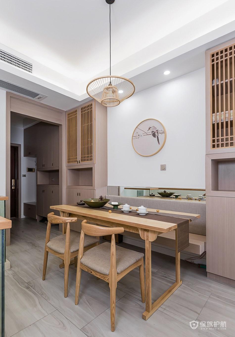 清新新中式风格三房小餐厅卡座装修效…