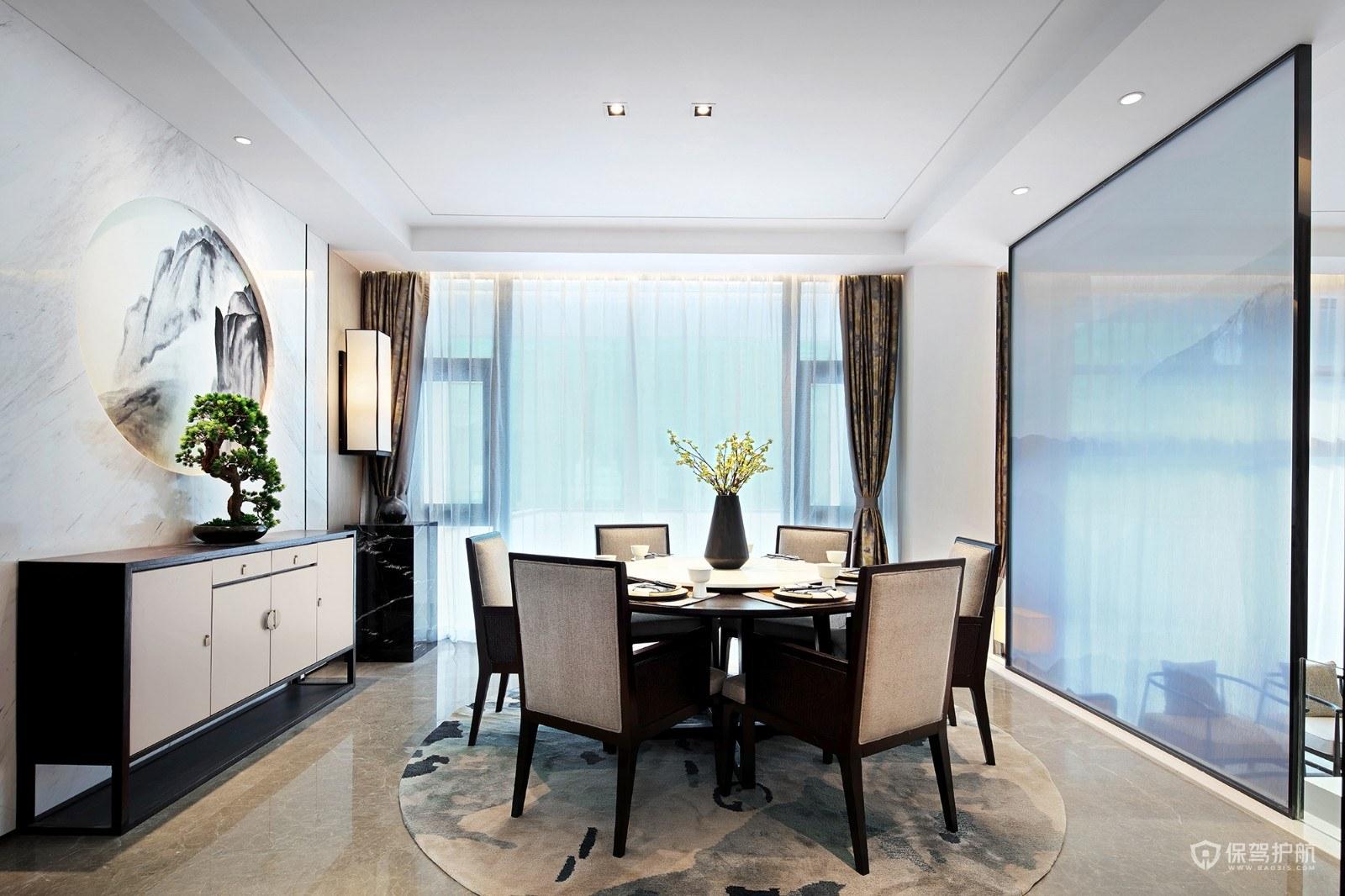 新中式风格大平层餐厅装修效果图