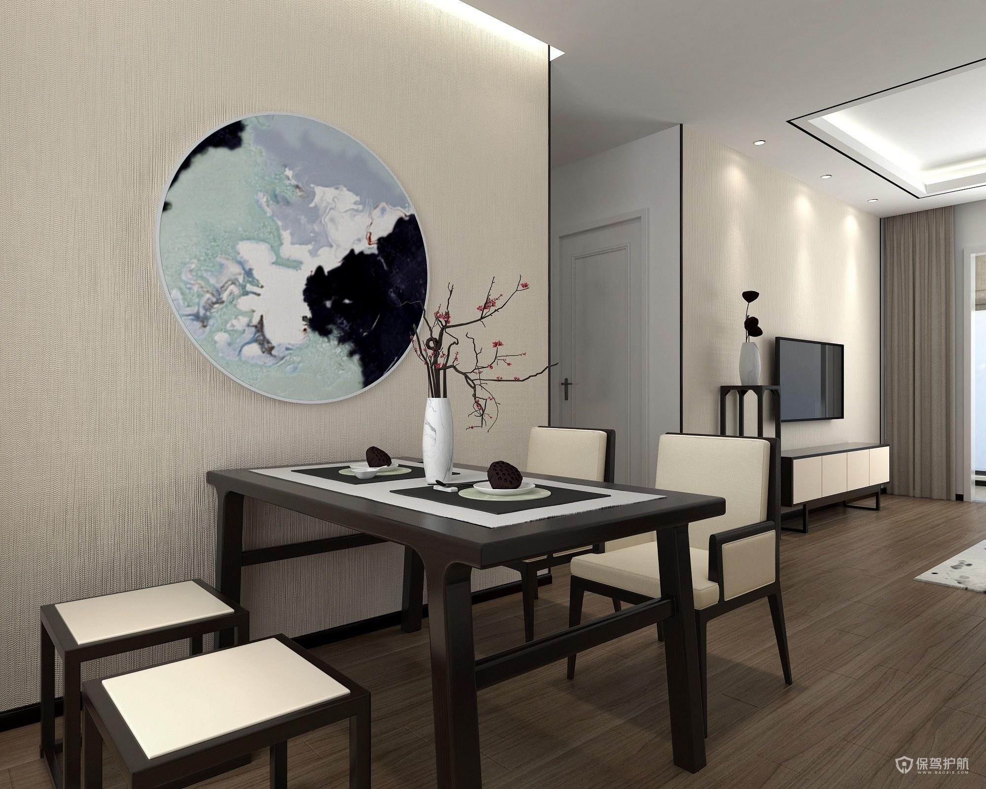 105平新中式三房餐厅亚搏体育平台app效果图
