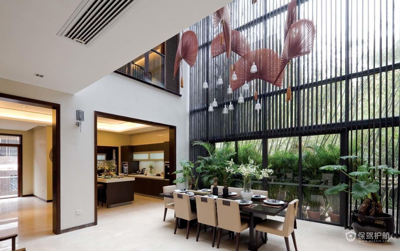 现代中式风格别墅挑空餐厅装修效果图…