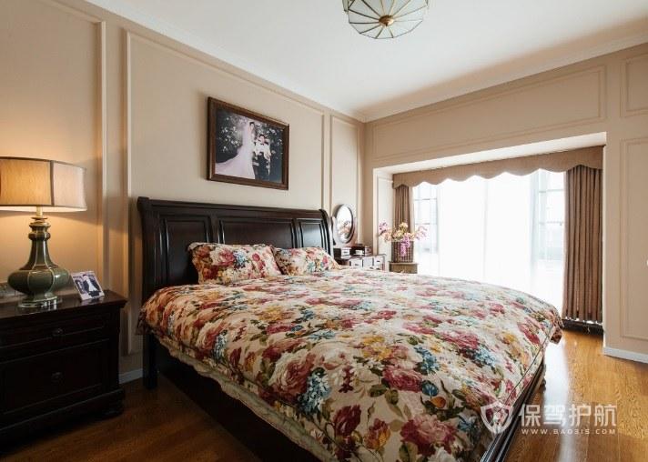 法式乡村风卧室陶瓷座床头灯装修效果…