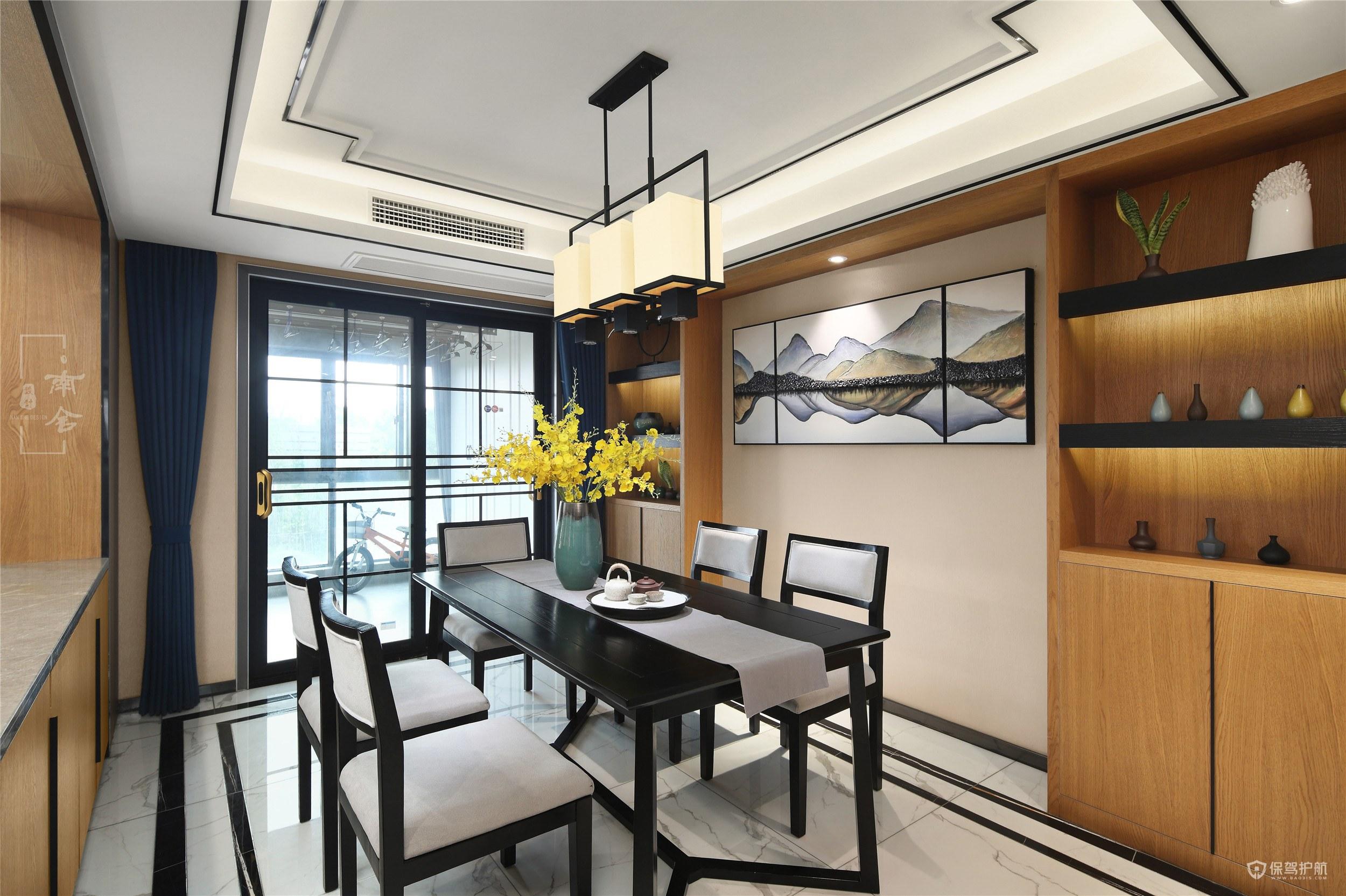 新中式风格三居室餐厅墙面装修效果图