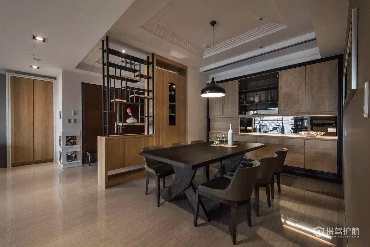 新中式140平三居室餐厅隔断柜装修效…