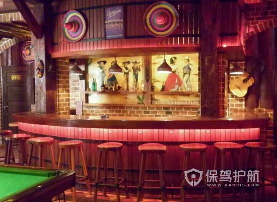 103平米美式风格酒吧吧台设计效果图…